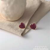 s925銀韓國氣質甜美百搭愛心耳環溫柔復古紅色心形耳釘無耳洞耳夾 極簡雜貨