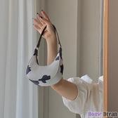 手提包 設計迷你奶牛紋月牙包2020新款腋下包手提單肩斜挎小包