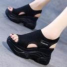 魚口鞋 夏季新款針織魚口鞋仙女風鬆糕底高跟飛織厚底楔形厚底運動女涼鞋-Ballet朵朵