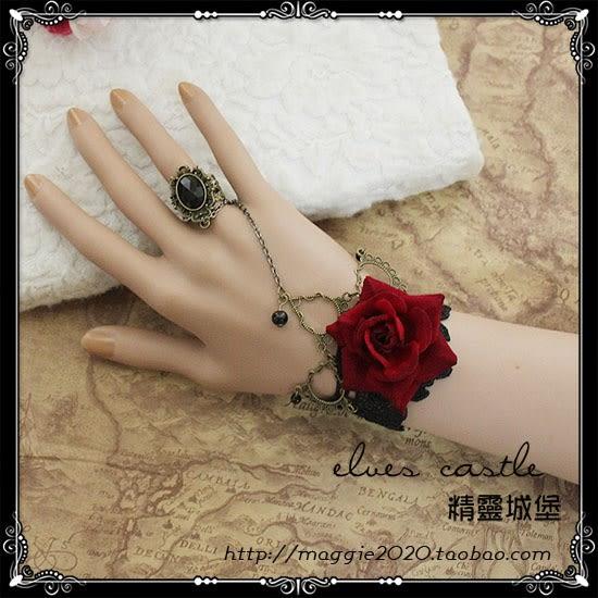 紅寶石戒指精致復古風格蕾絲手鍊腕飾 ciyo黛雅
