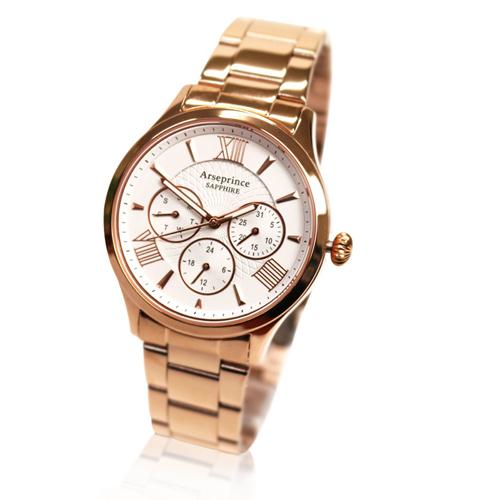 【Arseprince】羅馬時刻三眼時尚中性錶-玫瑰白金
