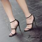 細跟黑色涼鞋性感歐美款側邊皮帶扣 高跟鞋 晚宴鞋 新娘鞋 婚鞋 大尺碼35-40 Kwoom-iA48