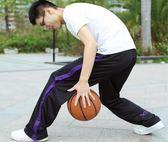 男士全開扣運動褲秋冬加絨加厚訓鍊褲健身褲寬鬆直筒褲籃球褲長褲