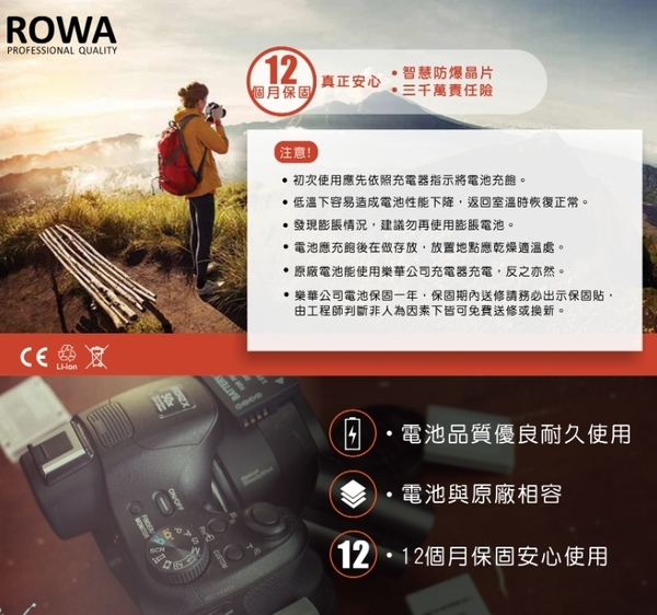 【需搭配副廠充電器】樂華 ROWA canon LP-E17 副廠鋰電池 77D 750D 760D 800D M3 M5 M6