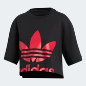 ADIDAS CROPPED 女裝 短袖 短版 休閒 寬鬆 棉質 紅LOGO 黑【運動世界】EC1870