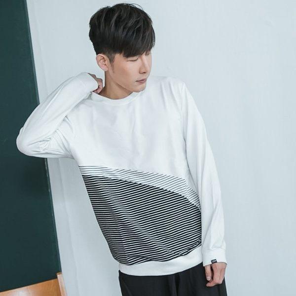 韓國製細條紋圓領長T【BM81】OBIYUAN 獨家專櫃黑白配色長袖上衣 共3色