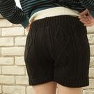 針織臺灣製 麻花鬆緊綁帶毛衣短褲-獨具衣格中大尺碼
