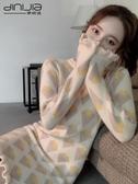 針織連身裙穿搭加厚秋冬季打底配大衣的內搭直筒魚尾毛衣女拜年裙 韓國時尚週