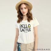 GIORDANO 女裝大自然系列印花短袖T恤-31 皎雪色