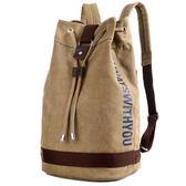 帆布水桶雙肩包籃球包戶外運動休閒大容量電腦背包旅行包學生書包【快速出貨】