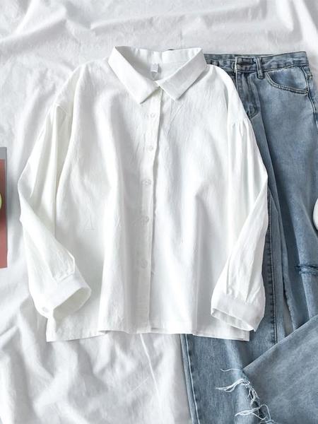雪紡上衣 2021年新款修身長袖白色襯衫女設計感小眾簡約學生百搭外穿秋上衣 霓裳細軟