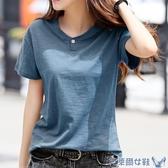 2020夏裝新款韓版竹節棉t恤女短袖寬鬆大碼純棉半截袖上衣T桖丅恤 快速出貨