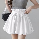 花苞褲 夏季時尚鬆緊腰花苞高腰休閒短褲a字熱褲白色寬管褲女-Ballet朵朵