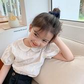 兒童T恤2021夏季新款透氣繡花娃娃領可愛時尚女童女寶寶短袖6657 幸福第一站