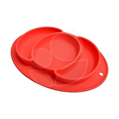 Expect 兒童矽膠餐盤(南瓜款) - 紅色【佳兒園婦幼館】