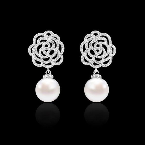 S925銀針大器薔薇珍珠鋯石耳環 (0434)