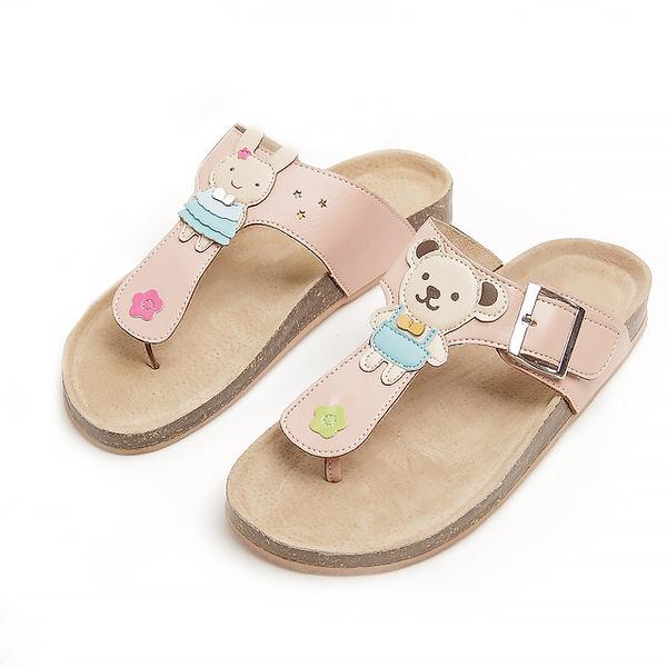 【Jingle】小熊娃娃T字軟木涼鞋(甜美粉大人款)