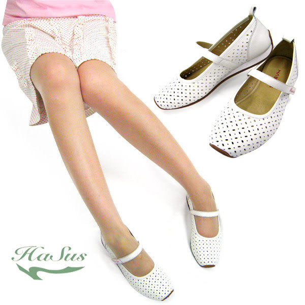 【奇買親子購物網】Hasus星綴系列孕婦鞋/平底鞋/娃娃鞋-天使白