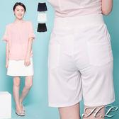 .GAG GLE超大尺碼.【16050056】舒適好評橫壓紋後伸縮腰褲裙 3色