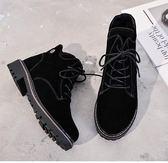 短靴女鞋2018新款冬季加絨棉鞋大碼女靴子41平底43英倫風馬丁靴40洛麗的雜貨鋪