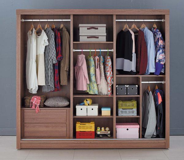 【森可家居】克德爾7x7尺衣櫥 7JX10-9 衣櫃 左右推拉門 木紋質感 北歐工業風
