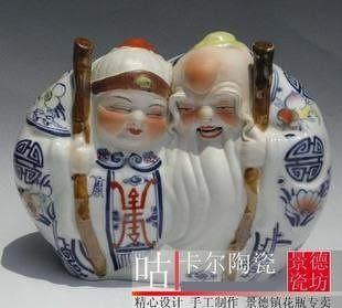 手繪青花瓷  工藝品擺件 壽星(小)