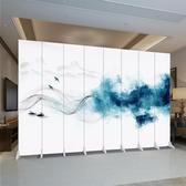 中式折疊移動屏風隔斷墻客廳辦公室簡約現代臥室酒店布藝雙面折屏 海港城