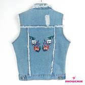 【SHOWCASE】騎士風毛邊刷破短版牛仔背心(藍)