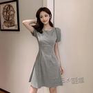 夏季女裝新款小個子洋裝收腰氣質顯瘦輕熟風短袖時尚法式 魔法鞋櫃