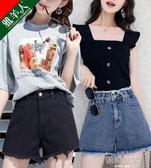 破洞牛仔超短褲女2020年新款夏季薄款寬松a字顯瘦ins潮高腰寬管褲