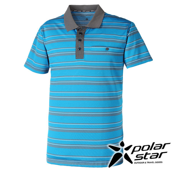 PolarStar 男排汗快乾條紋POLO衫 P16111『藍』戶外│休閒│釣魚衣│登山│露營│排汗