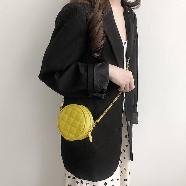 斜背包 2020韓版時尚可愛單肩包女小包斜挎洋氣網紅小圓包迷你菱格鏈條包【萬聖夜來臨】