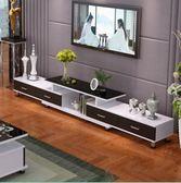 全館一件優惠-鋼化玻璃伸縮電視櫃茶幾組合簡約現代歐式小戶型客廳電視機櫃xw