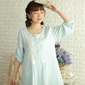 睡衣-純棉甜美蕾絲七分袖薄款女居家服2色73ok14【時尚巴黎】