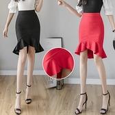 包臀裙OL半身裙S-3XL1089黑色半身裙女高腰彈力魚尾裙中長款不規則荷葉邊顯瘦D734依佳衣