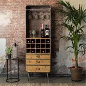 紅酒櫃美式loft鐵藝落地酒柜復古酒架實木餐邊柜創意紅酒架掛杯收納