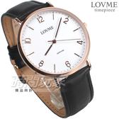 LOVME 簡約數字風格品味 藍寶石抗磨水晶玻璃 黑色真皮錶帶 男錶 VL9012M-43-241
