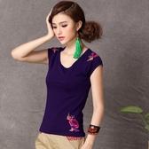 降價兩天 中國風女裝上衣 民族風繡花大尺碼短袖打底衫修身圓領刺繡t恤女