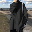 毛衣 2021秋冬年新款慵懶風毛衣女加厚高領寬鬆外穿百搭黑色日系針織衫 萊俐亞