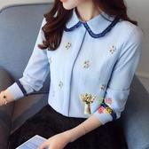 襯衫 春季韓版甜美減齡刺繡雪紡衫女長袖氣質淑女打底襯衫百搭上衣