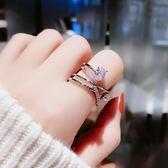 日韓潮人開口鋯石戒指女食指戒時尚指環