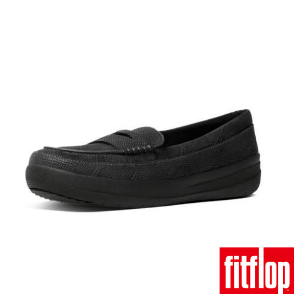 FitFlop™F-SPORTY™ PENNY LOAFERS SNAKE EMBOSSED -Black Snake-Embossed蛇紋黑