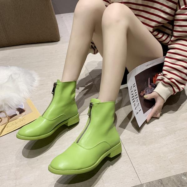 前拉鏈馬丁靴女網紅單靴2020新款短靴複古小跟春秋街拍潮靴女