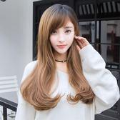 中長假髮韓系假髮女長直髮全頭斜瀏海圓臉微捲長捲髮大波浪韓系可愛