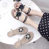 涼拖鞋女夏外穿新款平底韓版休閒時尚花朵學生一鞋兩穿女涼鞋  蒂小屋服飾