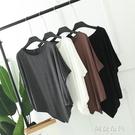 蝙蝠袖上衣 不規則蝙蝠袖上衣女夏裝中長款莫代爾短袖T恤大碼寬鬆圓領打底衫 阿薩布魯