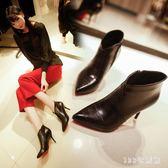 春秋款歐美性感細跟尖頭高跟短靴馬丁靴英倫側拉鏈單靴及踝靴女鞋 AB6533 【123休閒館】