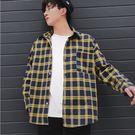 經典潮流格紋造型百搭休閒長袖襯衫