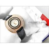 Valentino范倫鐵諾 名媛必備奢華晶鑽珍珠貝玫瑰金真皮手錶腕錶 柒彩年代【NE879】原廠正品