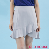 【RED HOUSE 蕾赫斯】素面荷葉波浪褲裙(灰色) 任選2件899元